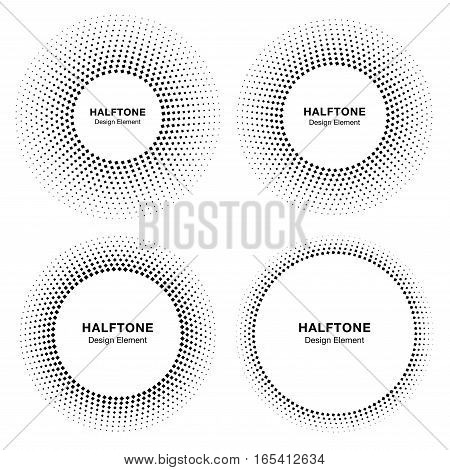 Set of  Black Abstract Circle Frame Halftone Dots Logo Design Elements for medical treatment, cosmetic. Circle Border Icon halftone square dot vector elements. Halftone circle emblem vector