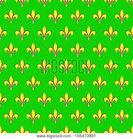 Mardi Gras seamless pattern with fleur de lis or lily icon. Flat elements of yellow color on a green background. Festive vector illustration. It can be used for design of packing, scrapbook, web, wallpaper, textile, card