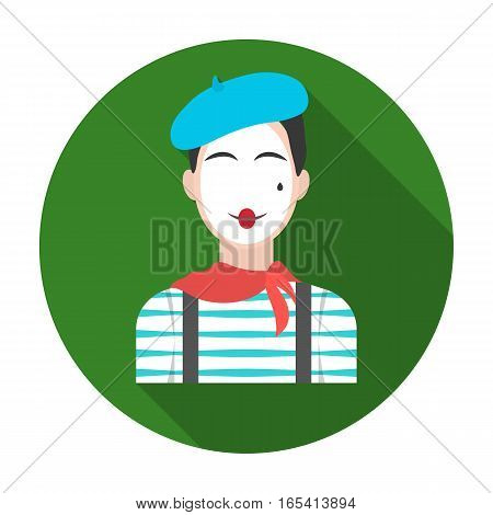 French mime icon in flat design isolated on white background. France country symbol stock vector illustration.