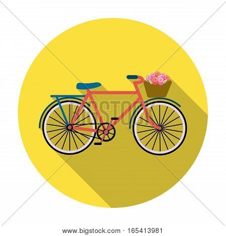 Pink bicycle with basket icon in flat design isolated on white background. France country symbol stock vector illustration.