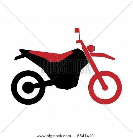 A simple logo motorcycle in black and red on a white background