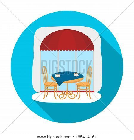 Served table near cafe icon in flat design isolated on white background. France country symbol stock vector illustration.