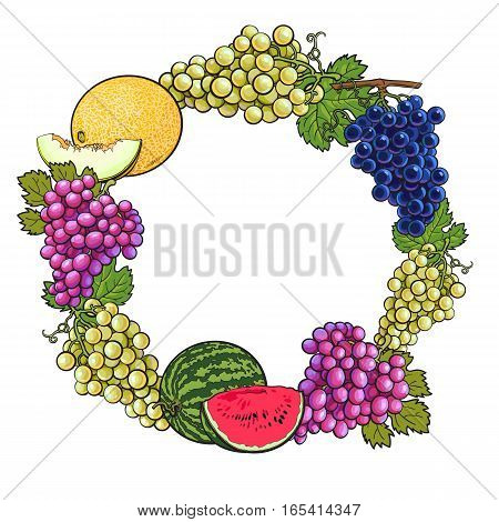 Round frame of white, green, purple grapes, melon and watermelon, sketch style vector illustration isolated on white background. Grapes, melon, watermelon frame, banner, decoration element