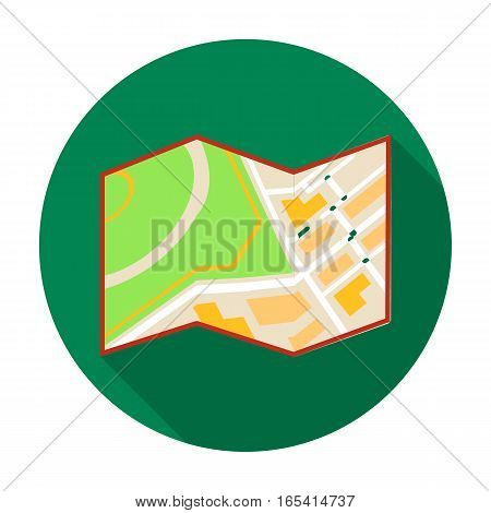 Travel map icon in flat design isolated on white background. Rest and travel symbol stock vector illustration.