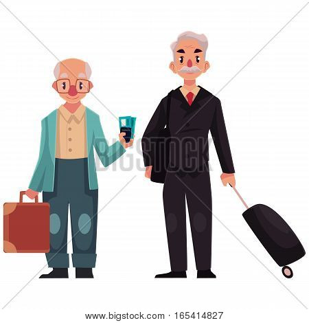 Two old, senior men, in black suit and wearing cardigan, with suitcases in airport, cartoon illustration isolated on white background. Portrait of old, senior men, business traveler and grandfather