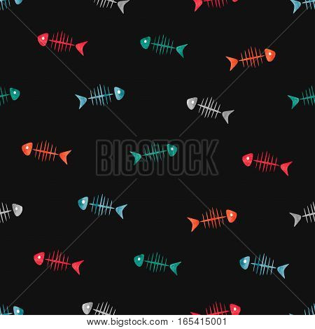 Colorful fish bones seamless pattern. Vector background.