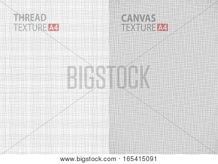 Set of light gray white line fabric thread canvas burlap texture in A4 paper size backgrounds, thread gray pattern backdrop vertical paper format.