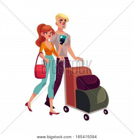 Man and woman travelling together, going on vacation, pushing luggage trolley, cartoon illustration isolated on white background. Full length portrait of young couple, man and women in the airport
