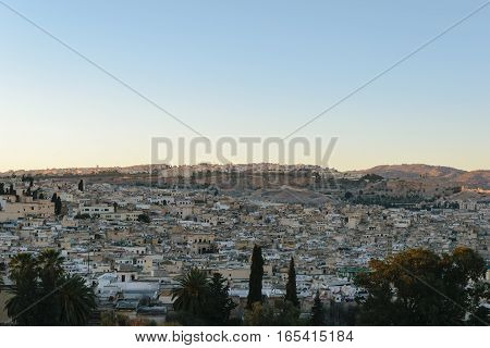 Great view over the old Medina of Fez at sunset, Morocco.