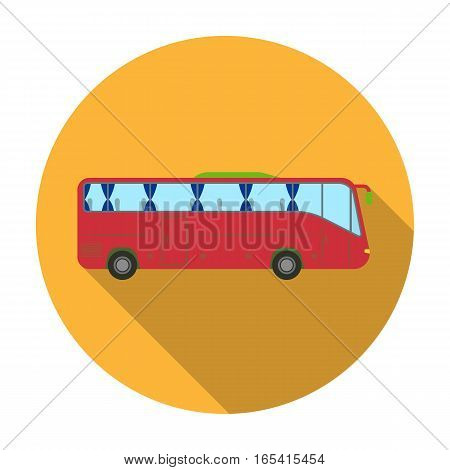 Green tour bus icon in flat design isolated on white background. Rest and travel symbol stock vector illustration.