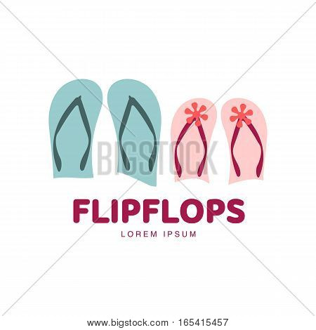 Stylized pair of three colored rubber flip flops logo template, vector illustration isolated on white background. Graphic flip flops, sandals logo design, vacation, holiday, downshifting concept