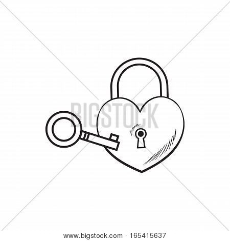 heart shaped padlock and key for love lock unity ceremony, sketch style illustration isolated on white background. hand drawing of shiny red lock and vintage key for wedding ceremony