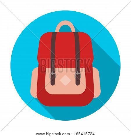 Hipster backpack icon in flat design isolated on white background. Hipster style symbol stock vector illustration.