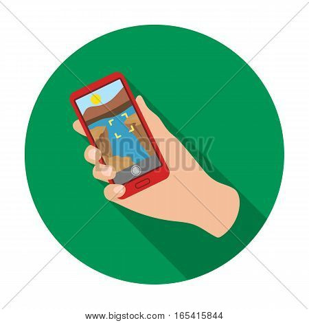 Taking photo on smart phone icon in flat design isolated on white background. Hipster style symbol stock vector illustration.