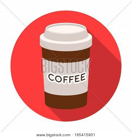 Disposable coffee cup icon in flat design isolated on white background. Hipster style symbol stock vector illustration.