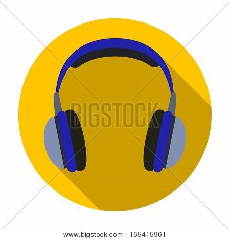 Vintage headphones icon in flat design isolated on white background. Hipster style symbol stock vector illustration.