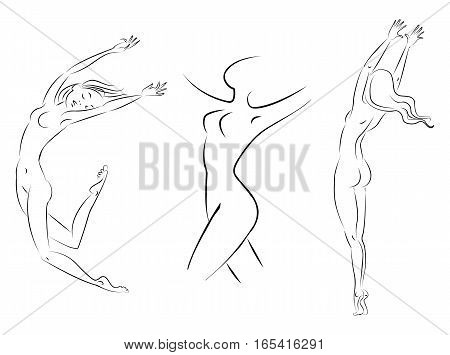 Silhouette of a slender girl, monochrome picture, on a white background. Vector illustration