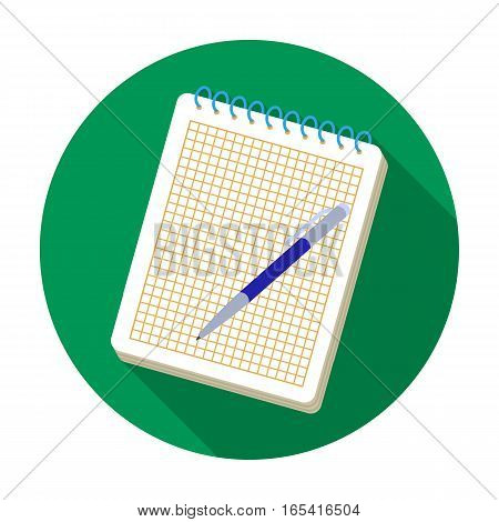 Notebook and pen icon in flat design isolated on white background. Hipster style symbol stock vector illustration.