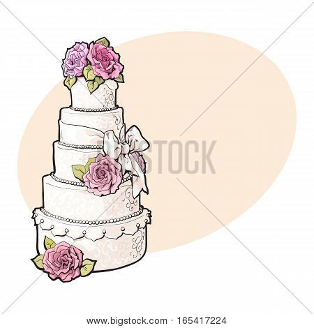 Traditional white tiered wedding cake decorated with pink marzipan roses, sketch style illustration on background with place for text. Layered wedding cake with five tiers, white icing and pink roses