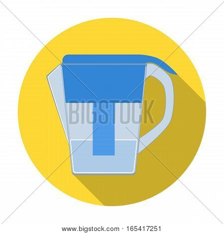 Water jug with filter cartridge icon in flat design isolated on white background. Water filtration system symbol stock vector illustration.