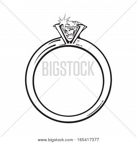 Golden engagement ring with a big shining diamond, sketch style illustration isolated on white background. Realistic hand drawing of traditional marriage, engagement ring with a diamond