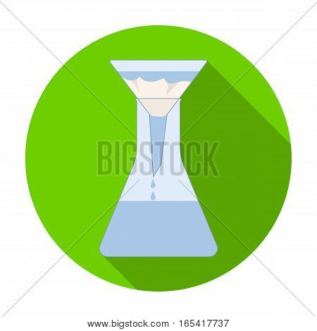 Filtration of water solution in a conical flask icon in flat design isolated on white background. Water filtration system symbol stock vector illustration.