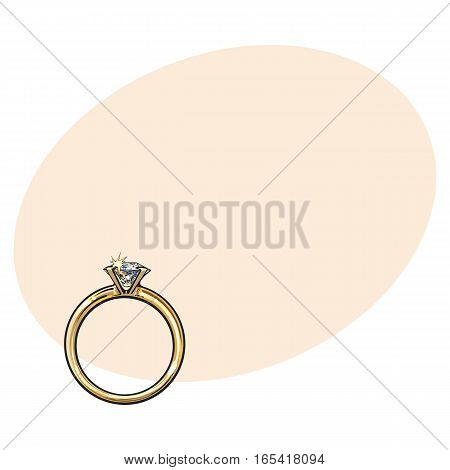Golden engagement ring with a big shining diamond, sketch style illustration on background with place for text. Realistic hand drawing of traditional marriage, engagement ring with a diamond