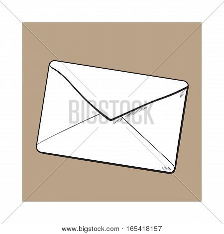 Backside of envelope, sketch vector illustration isolated on brown background. Hand drawing of enveloped with a lipstick kiss, love letter, romantic message