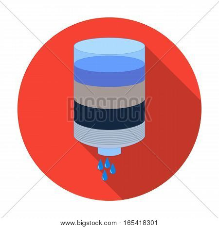 Water filter cartridge icon in flat design isolated on white background. Water filtration system symbol stock vector illustration.