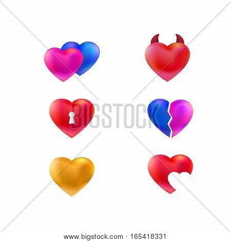 Set of various vector hearts icons. Pink, golden, red. Couple. Heart with keyhole. ill. Love symbols collection. Golden heart, broken, with a keyhole, open, damn