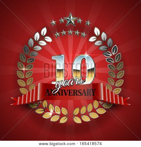 10th anniversary gold wreath. Golden frame for 10th anniversary. Vector illustration