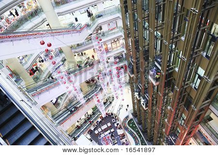 Interior of a massive shopping mall in shanghai.