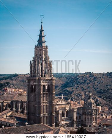 Ornate church tower in town of  toledo spain