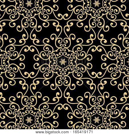 Vintage golden delicate lace ornament pattern on a black background