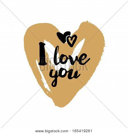 I love you brush lettering illustration. Handmade calligraphy for print, card, T-shirt. Hand drawn golden heart background. Vector quote for Valentines Day. Love symbol element