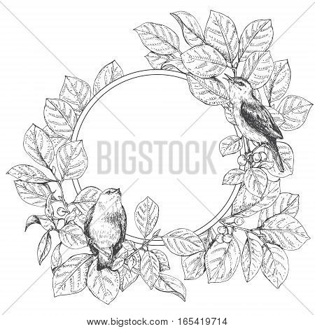 Hand drawn doodle floral round frame. Sitting birds on branches. Monochrome romantic card with space for text. Black and white image for coloring. Vector sketch.