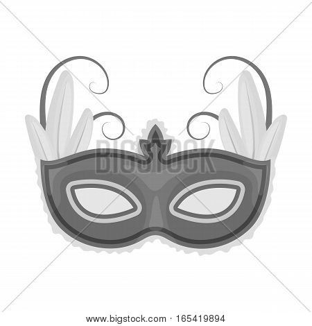 Brazilian carnival mask icon in monochrome design isolated on white background. Brazil country symbol stock vector illustration.