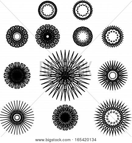 Set of spirograph symbols. Web design elements isolated on white background. Black outline flowers stars and snowflakes. Vector