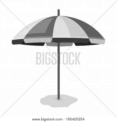 Yelow-green beach umbrella icon in monochrome design isolated on white background. Brazil country symbol stock vector illustration.