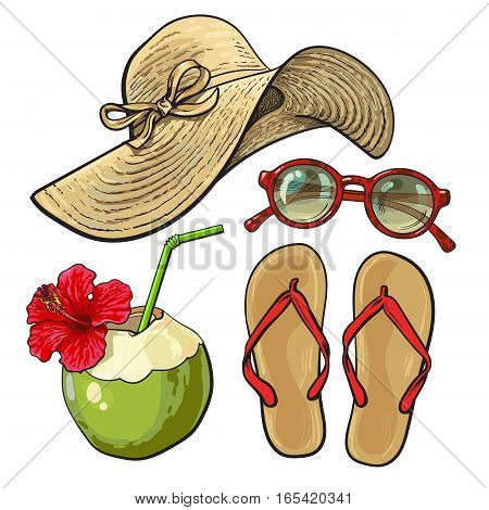 Set of summer time vacation attributes - straw hat, sunglasses, flip flops and coconut drink, sketch style vector illustration isolated on white background. Set of summer objects, symbols, elements