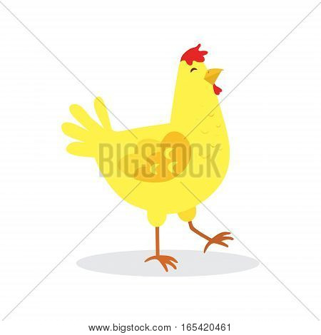 Yellow chicken isolated on a white background, vector illustration.