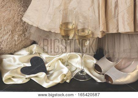 Valentines posh. Glamorous journey. Vintage classy. Champagne