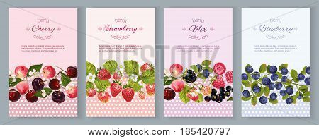 Vector vertical banners with berries. Design for cosmetics, sweets and candy, pastry and bakery filled with berries, beauty organic products, health care products, aromatherapy. With place for text