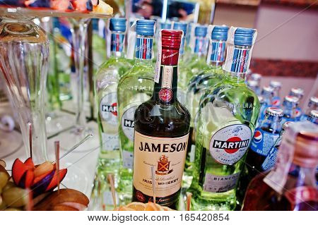 Hai, Ukraine - January 5, 2017: Different Bottles On Bar Reception With Jameson And Martini In The C