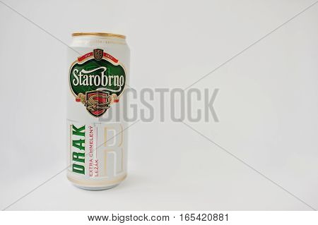 Hai, Ukraine - January 5, 2017: Starobrno Iron Can Of Beer Isolated On White.