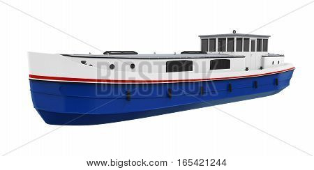 River Boat isolated on white background. 3D render