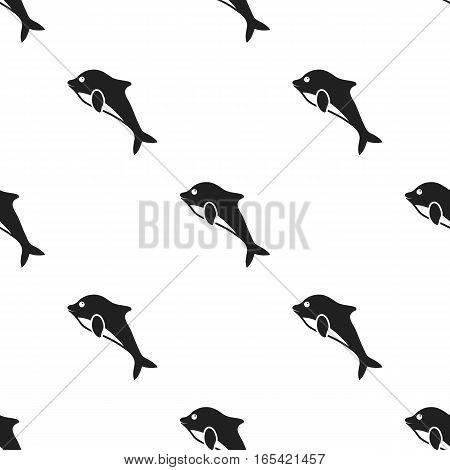 Dolphin icon in black style isolated on white background. Animals pattern vector illustration.