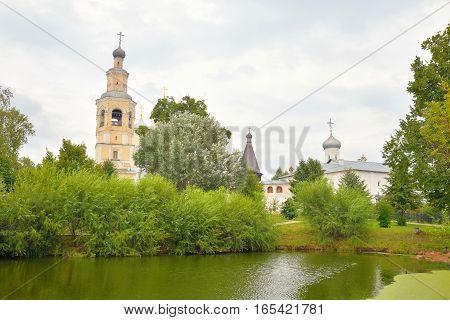 Saviour Priluki Monastery by cloud day near Vologda Russia.