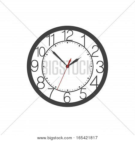 Vector icon of wall clock face with digits clock hands red second hand and marks placed on white background