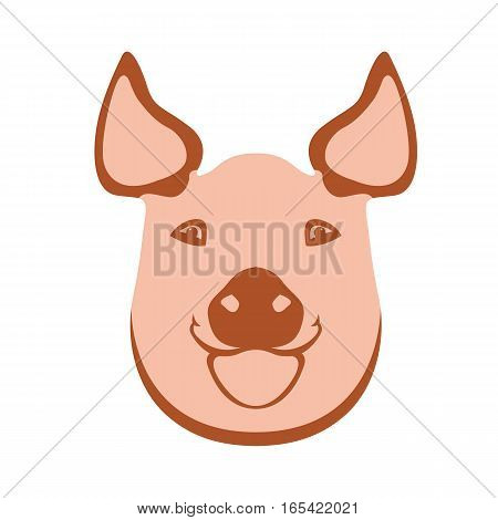 pig head  vector illustration Flat style front